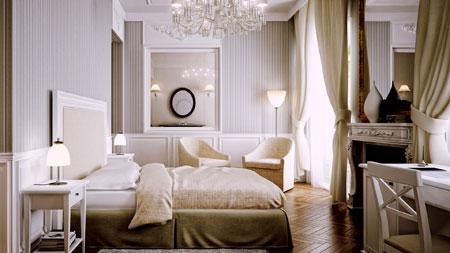 спальня в постельных тонах