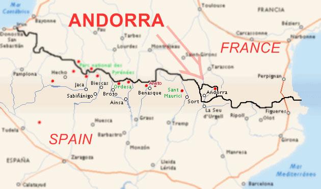 Расположение Андорры на карте