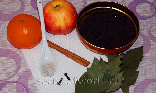Чай с мандарином, яблоком, корицей