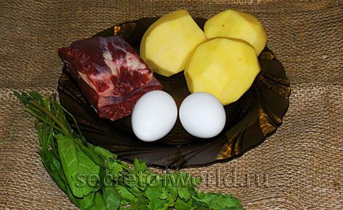 Ингредиенты для зеленого борща
