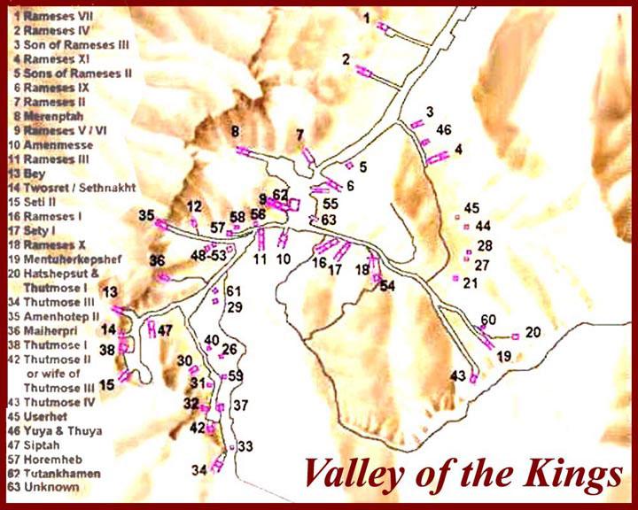 Карта Долины царей