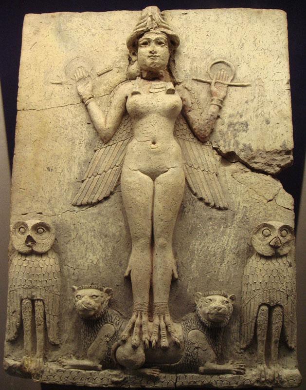 Вавилонский барельеф женщина с крыльями за спиной