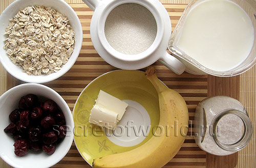 Ингредиенты молочной овсяной каши
