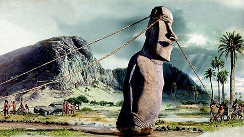 Перемещение статуй Моаи