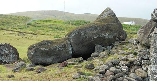Упавшие статуи моаи