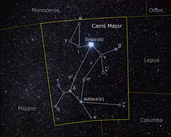 Звезды созвездия Большого пса